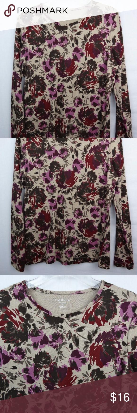 NWT Croft u Barrow Floral Long Sleeve T Shirt Med NWT  Barrow