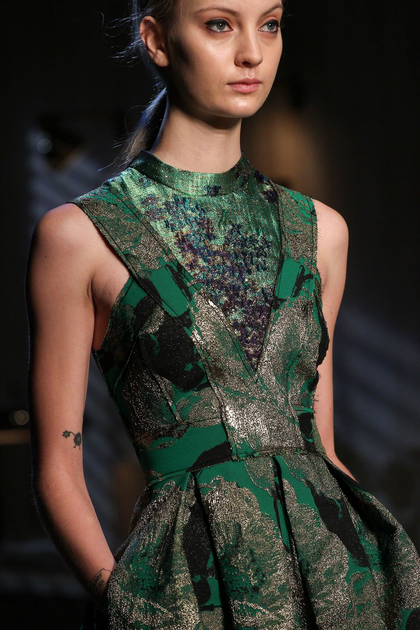 Green, black and silver printed dress // Erdem Fall 2015 ...