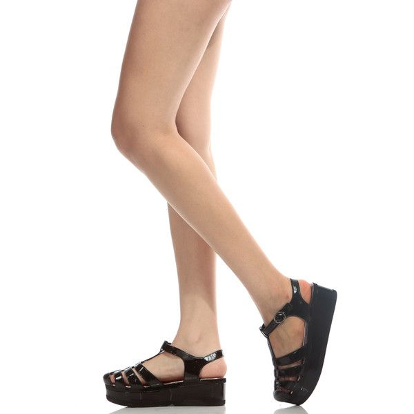 CiCiHot Black Platform Jelly Sandals