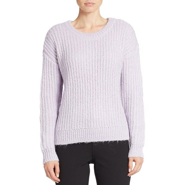 424 Fifth Drop-Shoulder Sweater ($12) ❤ liked on Polyvore featuring tops, sweaters, violet bloom, crew neck pullover, long sleeve pullover sweater, long sleeve tops, drop shoulder sweater and crew neck sweaters