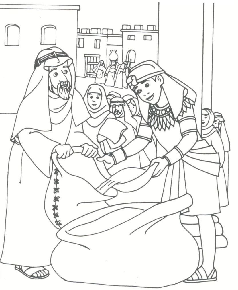 Printable coloring pages joseph coat - Joseph Filling Bags Of Wheat For His Brothers In Egypt Bible Coloring Pagescoloring Sheetscoat