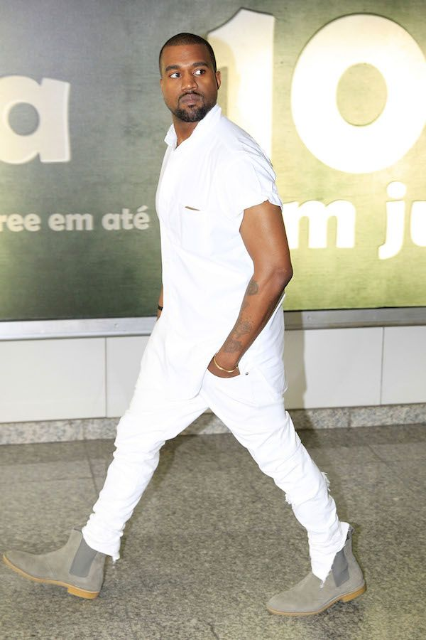 Kanye West Makes A Trip To Rio Two Months Before His Wedding All White Mens Outfit All White Outfit White Outfit For Men