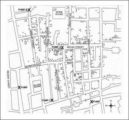 Street map marked with locations pumps and cholera cases