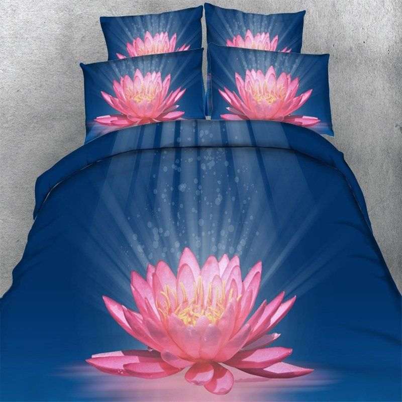 Sparkle Pastel Hot Pink White and Royal Blue 3D Lotus ...