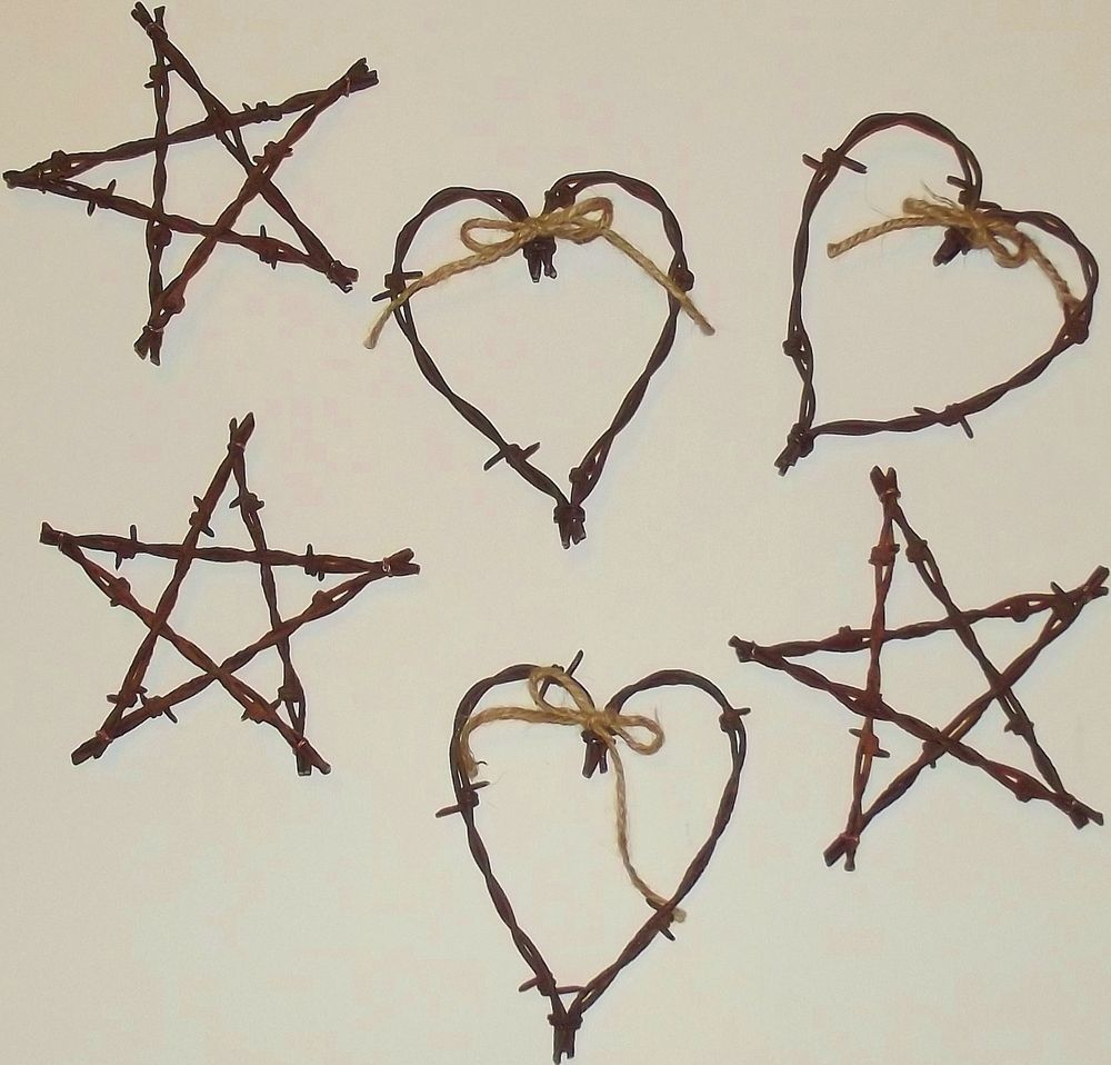 Barbed Wire Hearts & Star Sets of 6 antique Glidden\'s country rustic ...