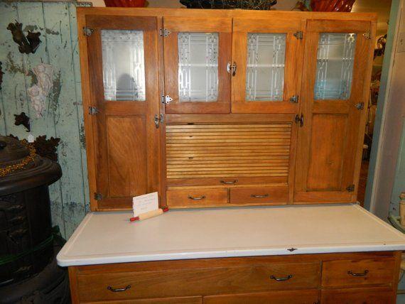 Etched Gl Door Hoosier Cabinet