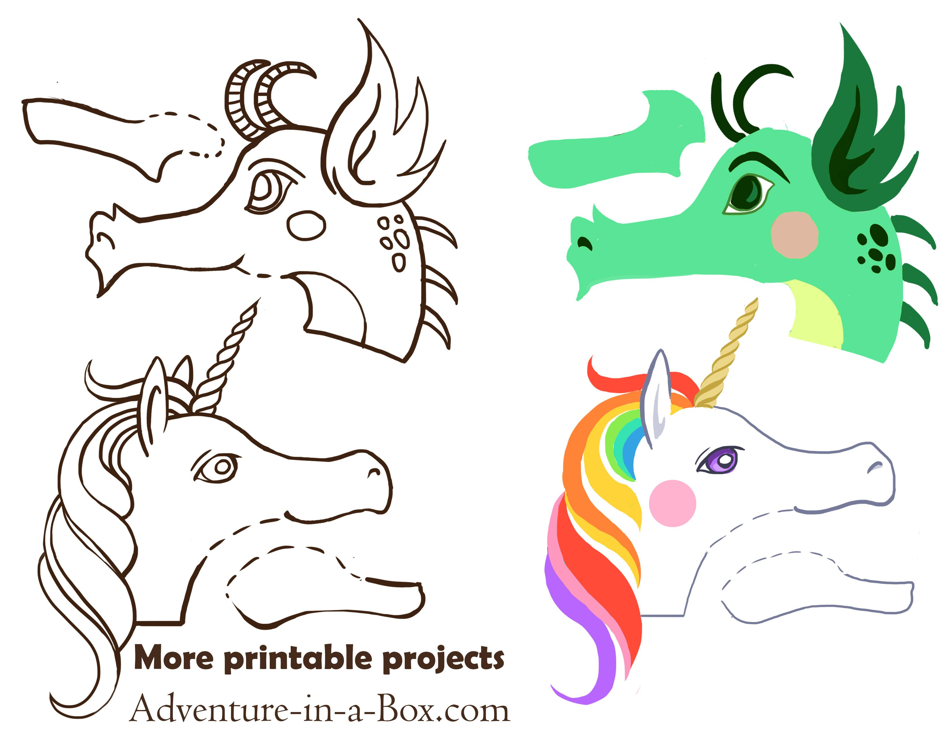 Dragon And Unicorn Clothespin Puppets With Free Printable Designs Clothes Pins Dragon Crafts Clothes Pin Crafts