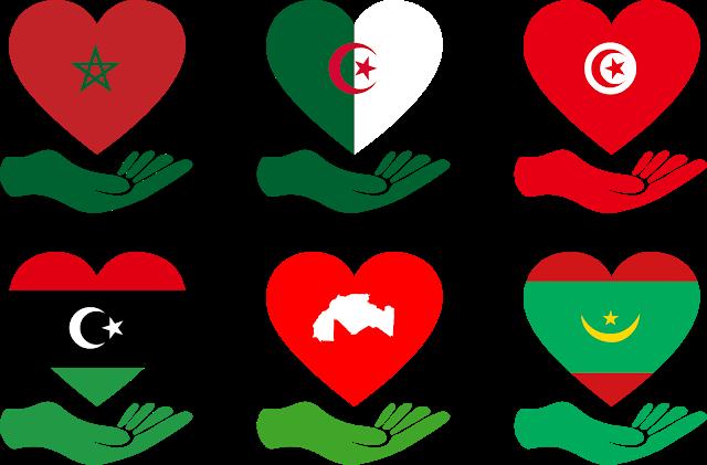 تحميل علم المغرب الجزائر تونس ليبيا موريتانيا على شكل قلب بيكتور مجانا Download Flags Alittihad Almaghribi Svg Eps Png Psd Ai Vector Vector Flag Eps