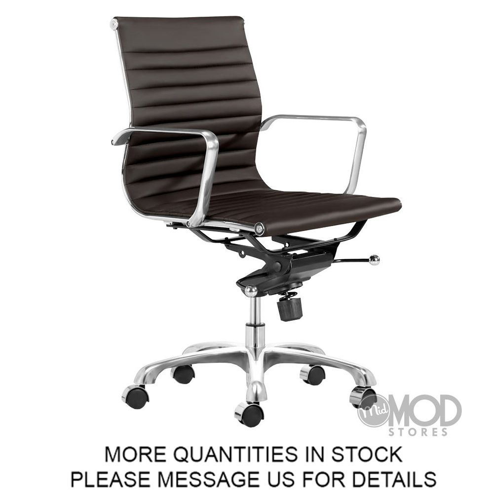 eames style office chairs. Eames Office Chair Brown Aluminum Group Management Style Ribbed Back Mid Low Off\u2026 Chairs