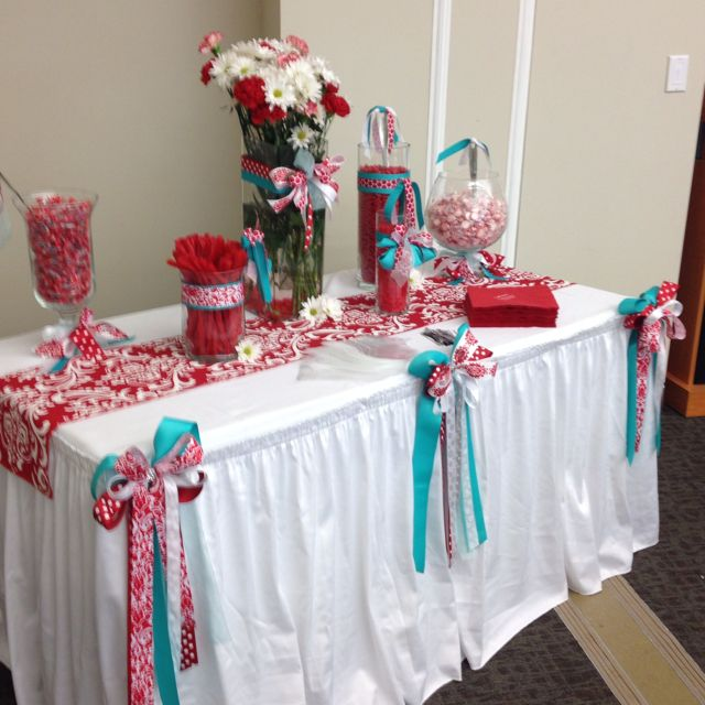 Red And Turquoise Candy Buffet Aqua Wedding Event Decor Candy Buffet