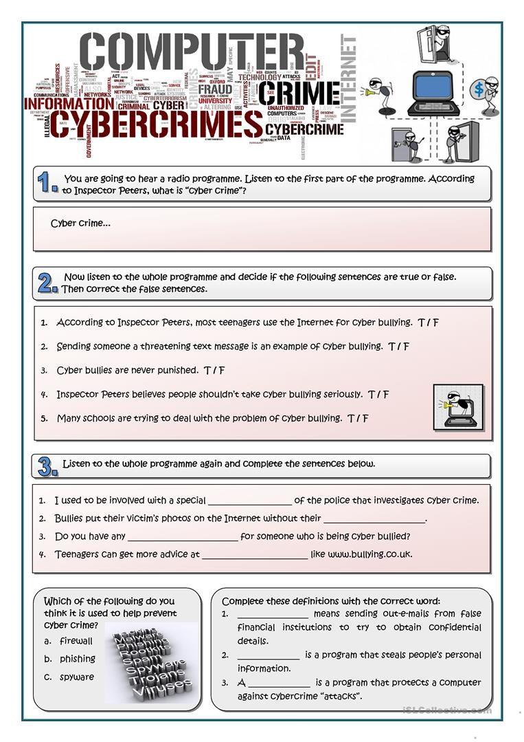 Cybercrime Worksheet Free Esl Printable Worksheets Made By Teachers Computer Teacher Computer Lessons Worksheets