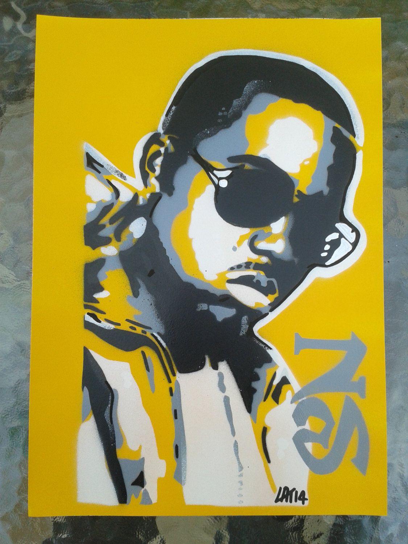 Nas stencil painting on card,spray paints,hip hop,urban art,rap ...