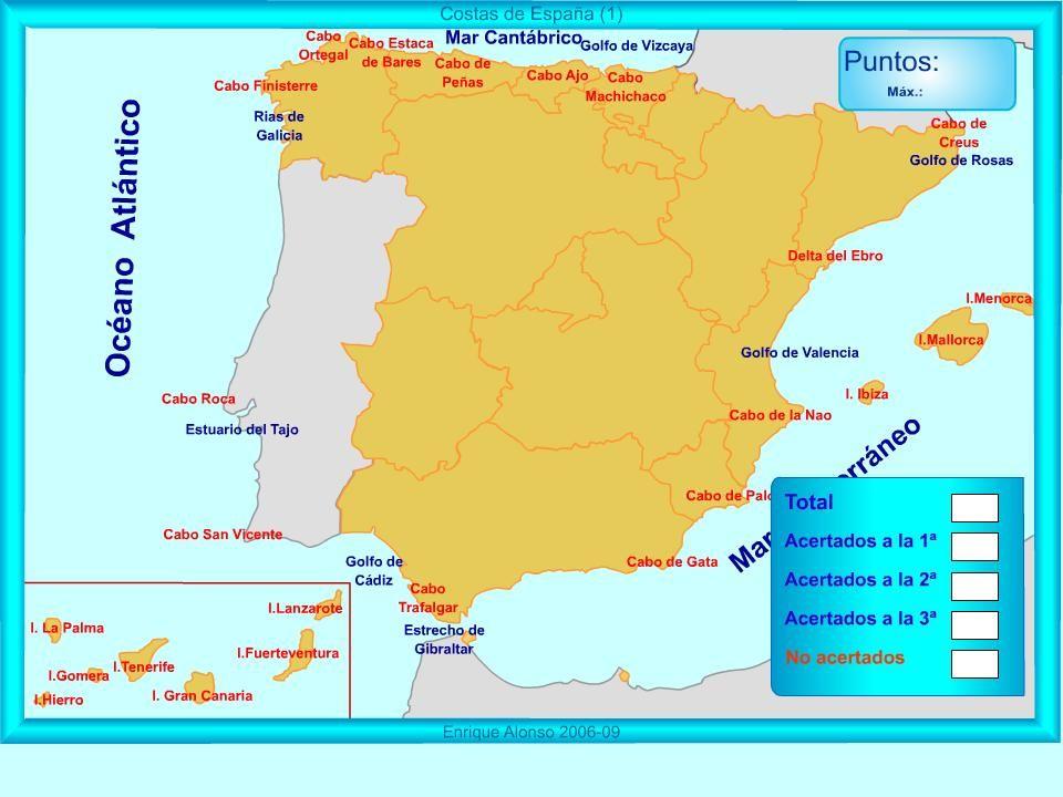 Mapa Interactivo De España Costas De España Dónde Está Mapas