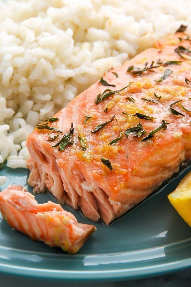 lemon, garlic, and thyme baked salmon ready in just 20 minutes!