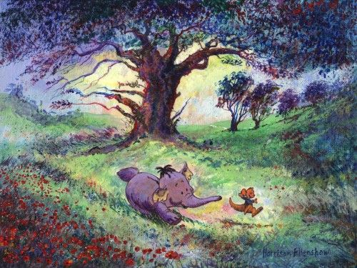 """Heffalump and Roo"" by Harrison Ellenshaw - Original Artwork, 9x12.  #Disney #WinnieThePooh #DisneyFineArt #HarrisonEllenshaw"