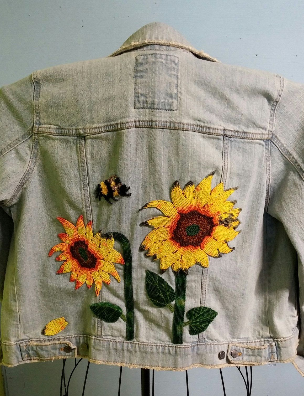 Sunflower Denim Jacket Denim Jacket Beaded Jacket Mens Shirt Refashion [ 1507 x 1159 Pixel ]
