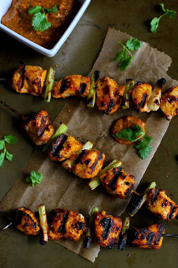 Grilled Chicken Kabobs with Red Pepper Cilantro Pesto Recipe...204 calories and 6 Weight Watchers PP   cookincanuck.com #healthy #grilledchickenparmesan