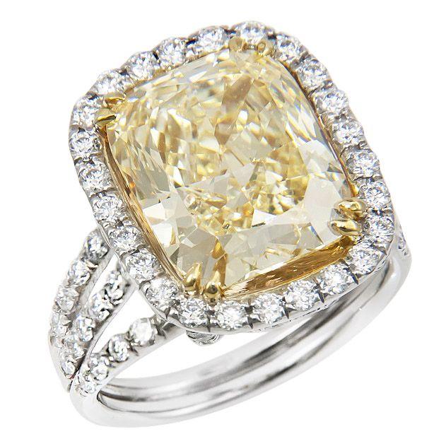 Yellow diamond platinum #ring #BlueNile