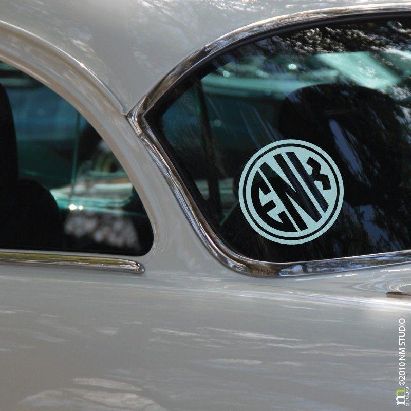 CLING Rimmed Circle Monogram Car Decal Wall Art Vinyl Wall - Circle monogram car decal