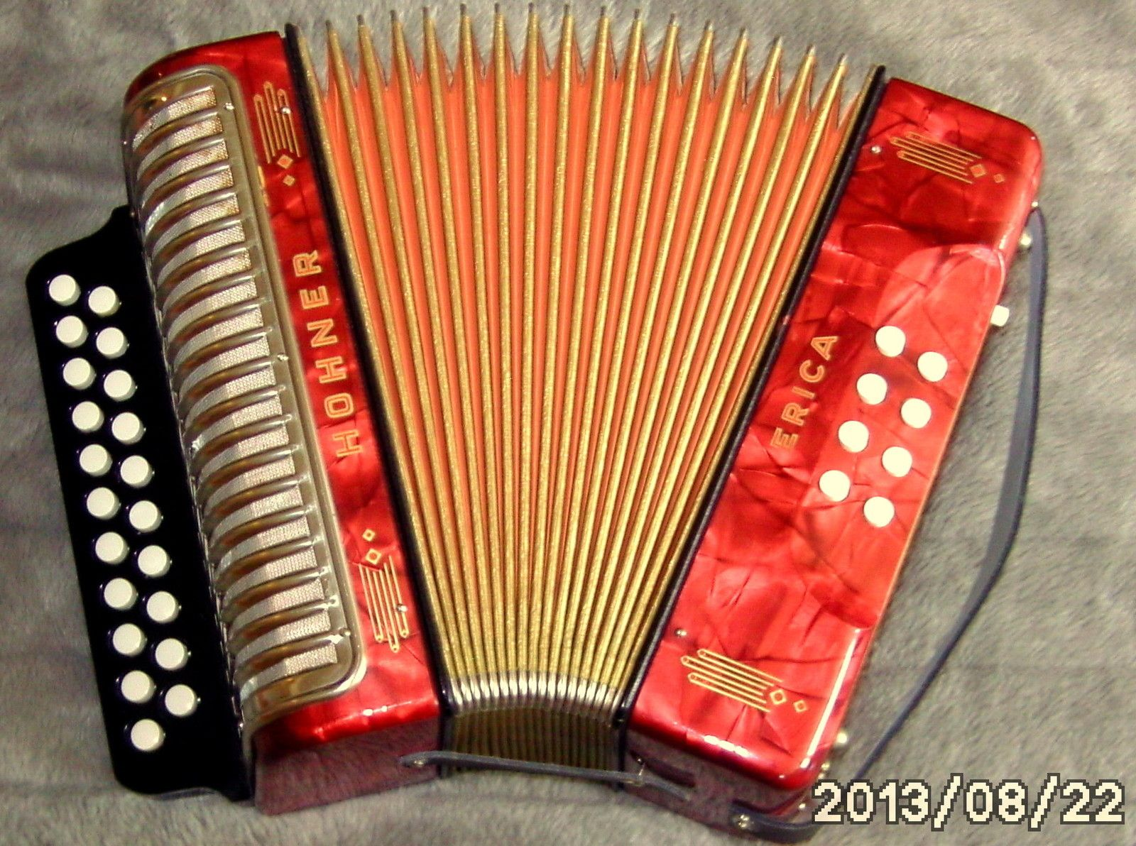 made in germany top c f diatonic hohner erica accordion. Black Bedroom Furniture Sets. Home Design Ideas