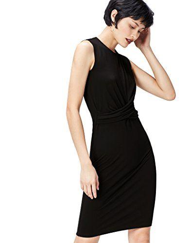 FIND Damen Kleid Jersey Ruched Front Schwarz (Black), 36 ... https ...