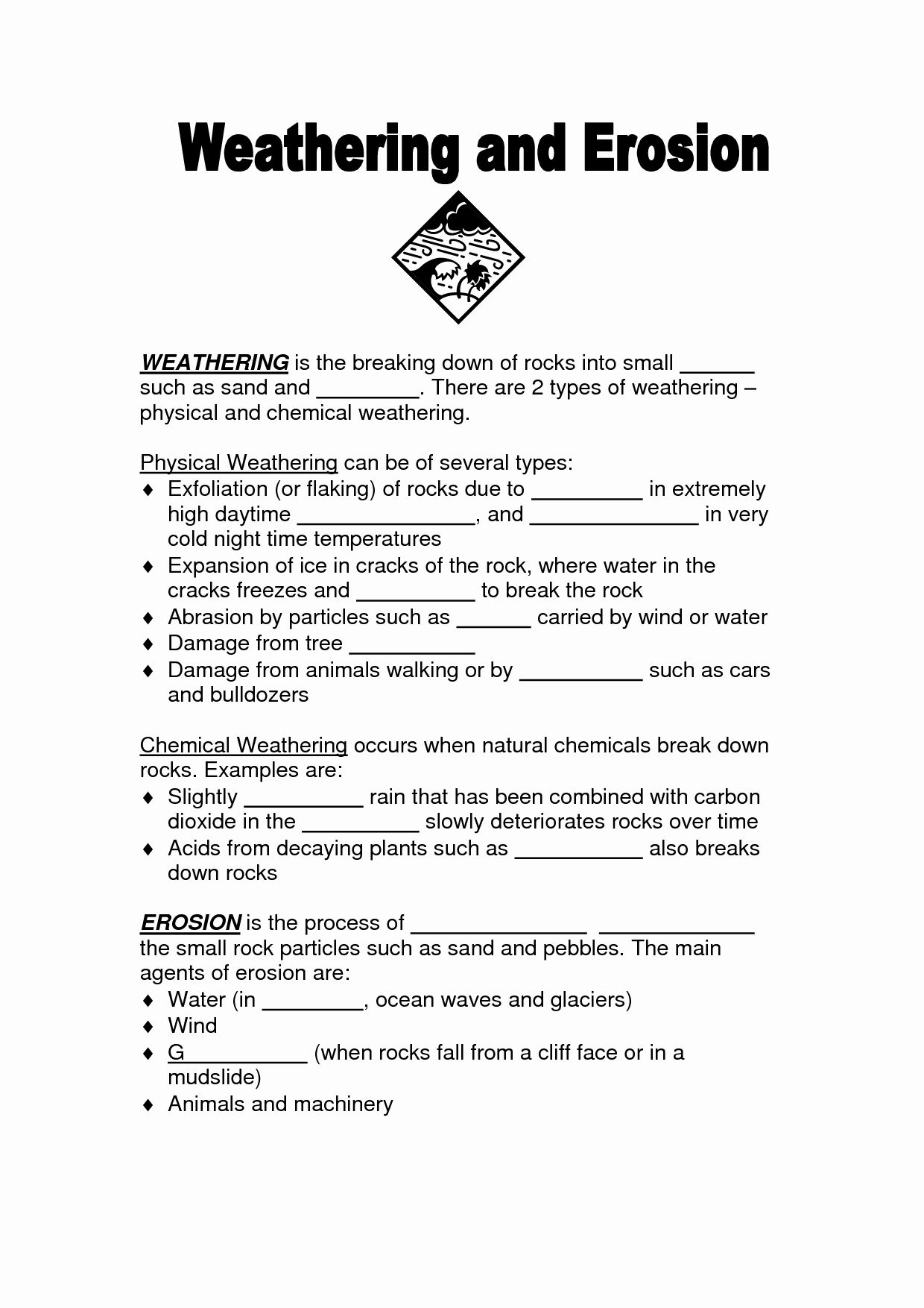Weathering Erosion And Deposition Worksheet Elegant 16