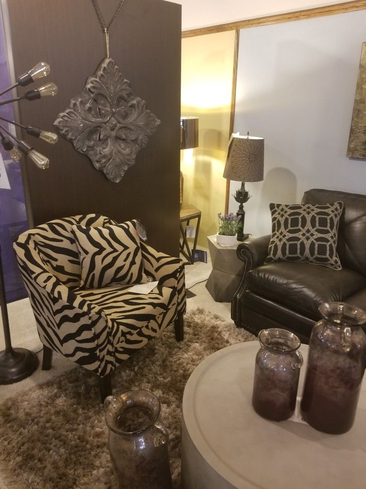 Zebra Print chair by Coaster, Tables by Flexsteel - Fitterer's Furniture Showroom, Downtown Ellensburg