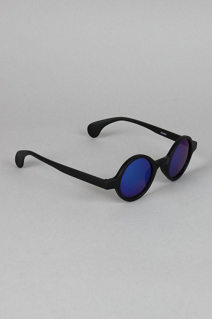 Matte Horn Rim Mirrored Sunglasses