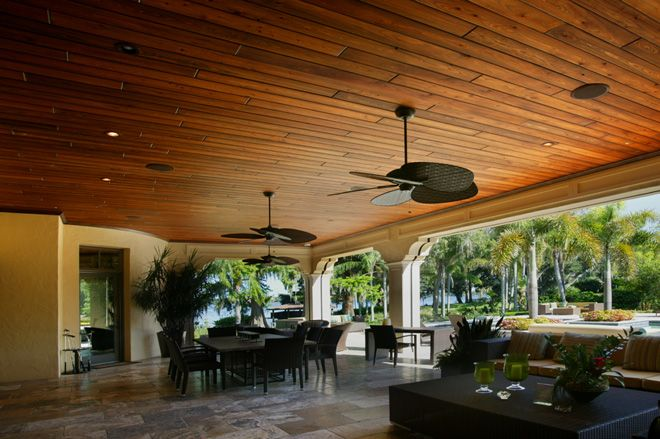 Wood Patio Ceiling With Tropical Fans