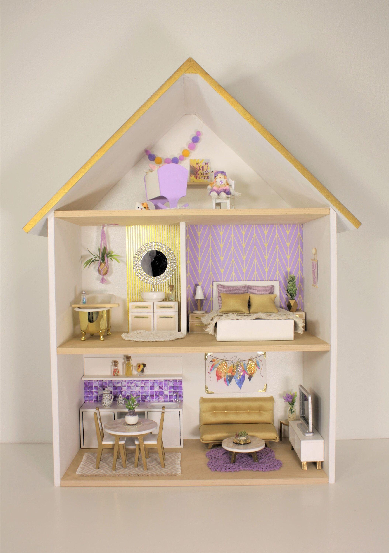 Dollhouse Wooden Handmade Modern Miniature 1 12 Scale By Littlehousesbyarteva On Etsy Https Www Etsy Com Uk Li Doll House Plans Doll House Doll Furniture