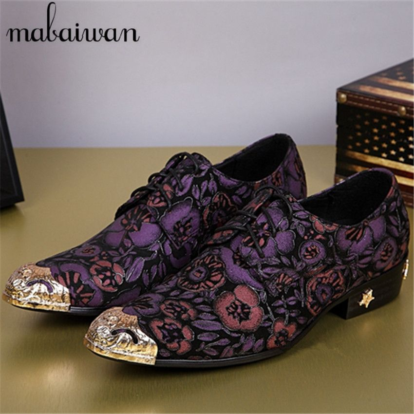 Hot New Print Purple Flowers Men Oxford Shoes Party Dress Shoes Italian  Style Business Wedding Shoes