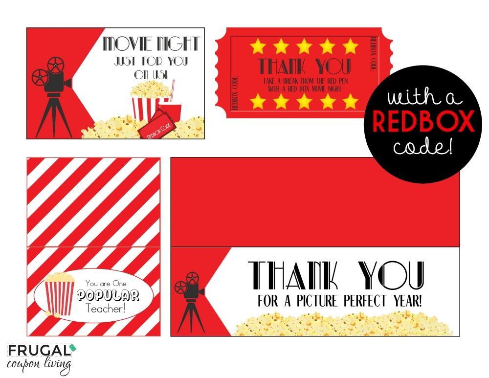Teacher Day And Night Worksheets : Movie night teacher appreciation gift with free printables