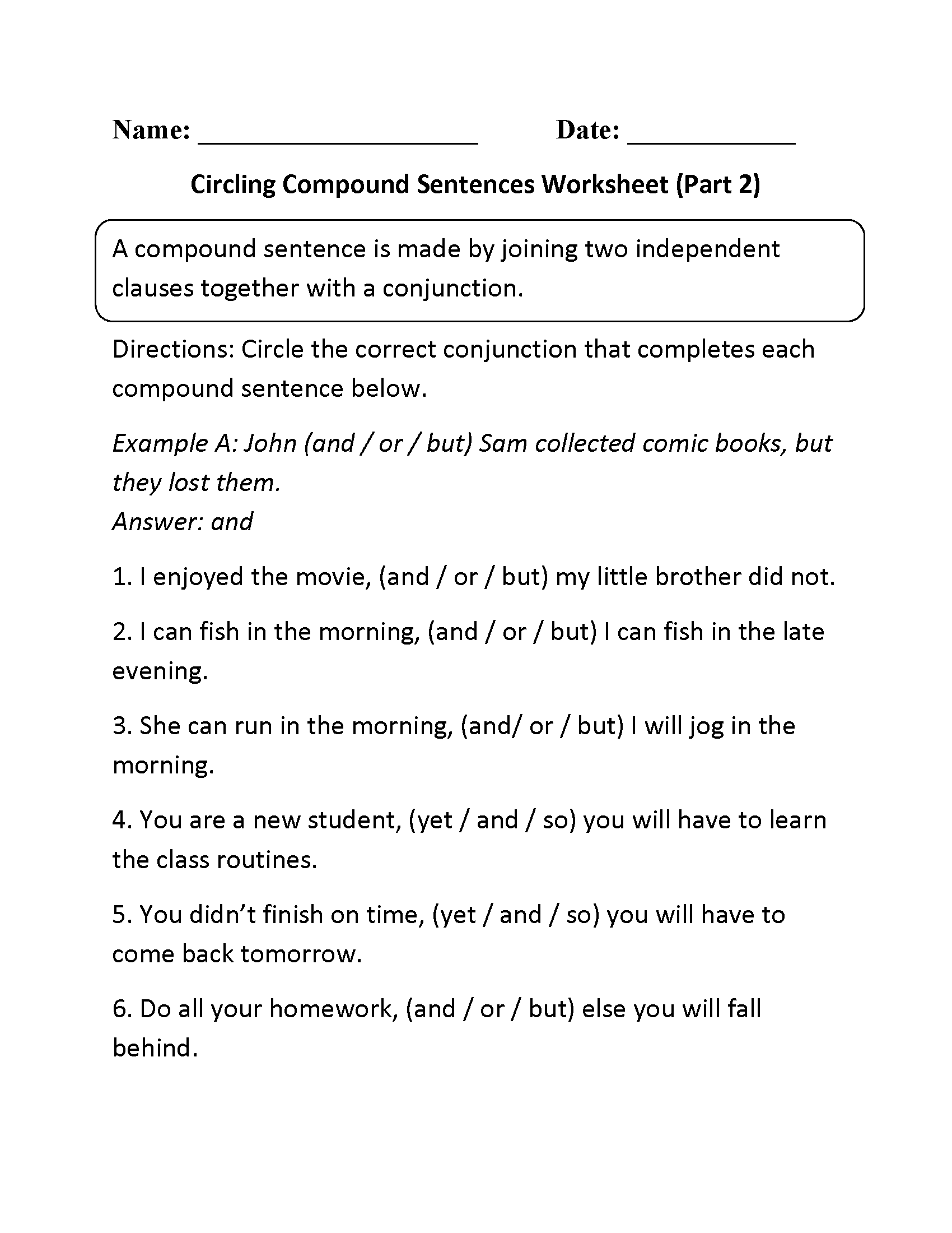 Circling Compound Sentences Worksheet Part 2