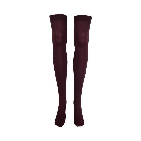 Solid Opaque Thigh High Socks in Burgundy ❤ liked on Polyvore featuring intimates, hosiery, socks, opaque hosiery, thigh-high socks, sexy thigh high socks, sexy hosiery and sexy socks