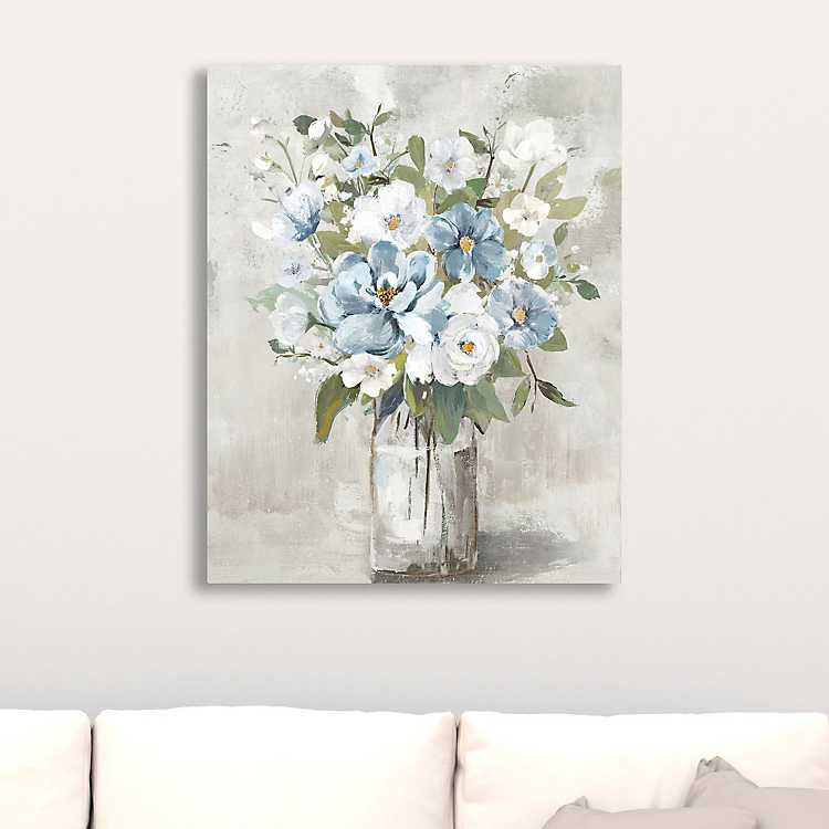 Blue And White Bouquet Giclee Canvas Art Print Painting Art Projects Canvas Art Canvas Art Prints