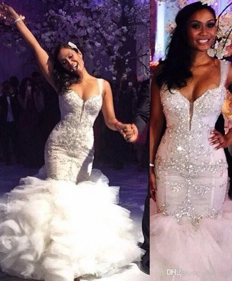 Vintage Mermaid Wedding Dresses With Spaghetti Straps Ruffles Beaded Crystals Sparking Gowns Layers Bodycon Arabic Bridal Dress Strapless Lace