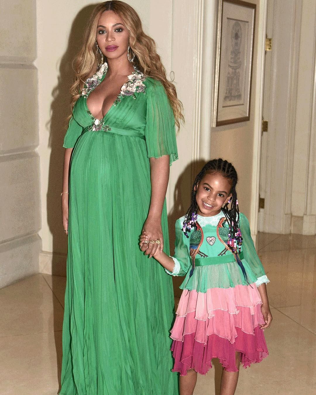 66641969748 INSTADAILY  Beyonce   Blue Ivy Wore Matching Green Dresses To The ...