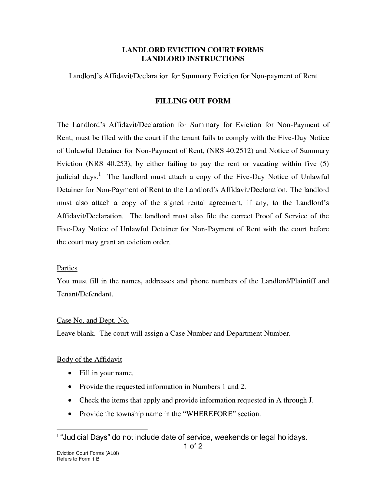 Eviction Notice  Landlord Eviction Notice Letter