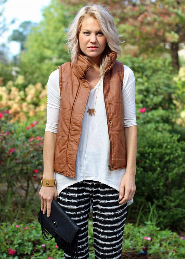 faux leather puffer vest with removable sleeves, camel colored faux leather vest, fall style, how to style a puffer vest, casual weekend outfits