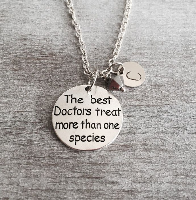 The best Doctors treat more than one species, Veterinarian gift, Vet Necklace, Veterinarian Charm Necklace, Vet tech Vet charm, Gifts by SAjolie, $18.75 USD