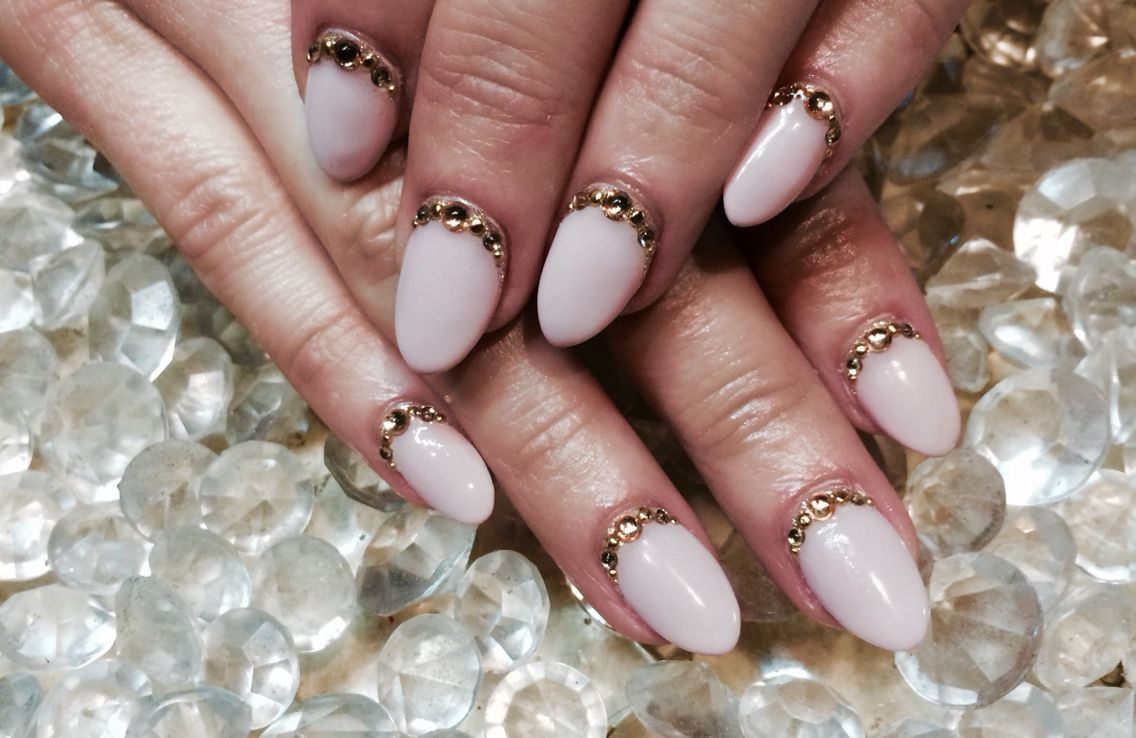 Gel extension with stone art | Nail Art | Pinterest | Gel extensions