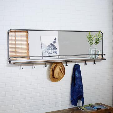 Entryway Mirror Hooks Large Westelm Entryway Mirror Mirror With Hooks Entryway Storage