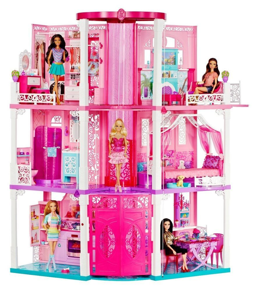 Barbie 3 Story Dream House Townhouse Dollhouse Fully Furnished New