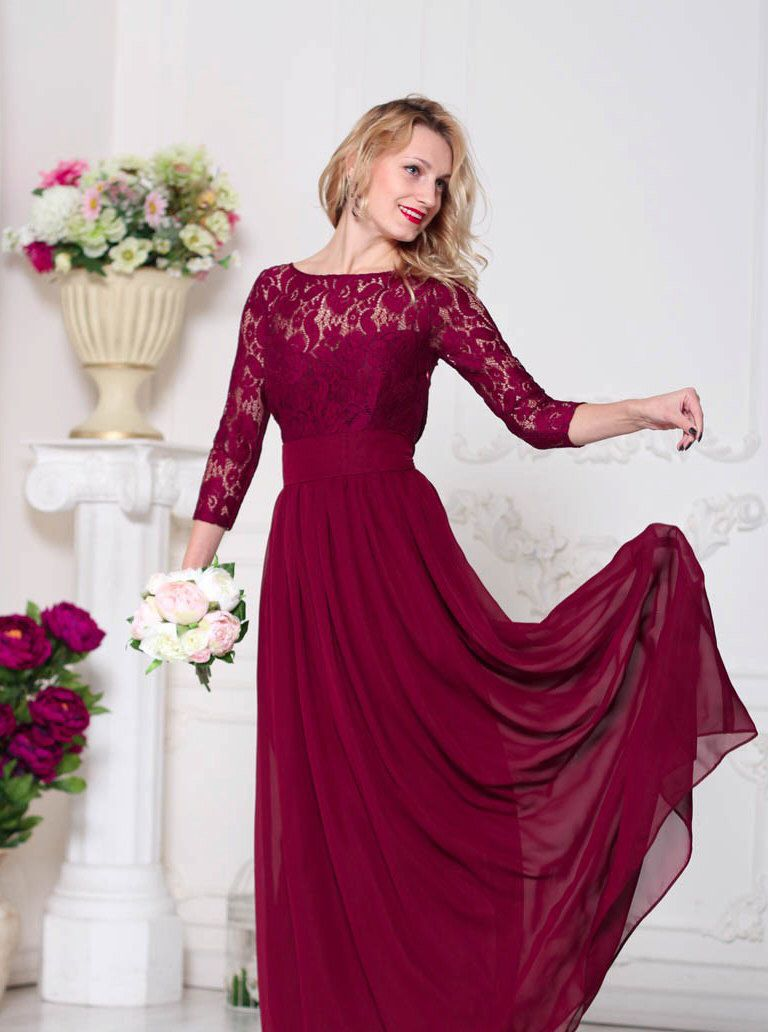Bridesmaid marsala dress lace burgundy wedding dress formal dress