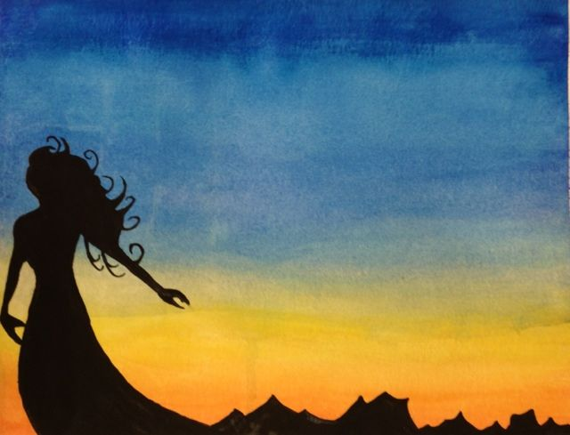 Watercolor Sunset Silhouette Lesson