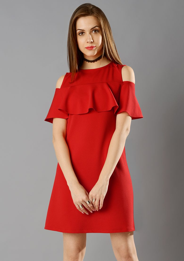 6b39452032e Ruffled Cold Shoulder Dress #FabAlley #Fashion #RedDress #Dresses #RedRuffle