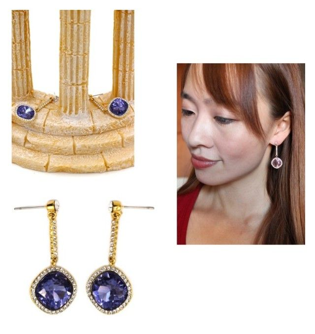 """Sparkling purple crystal golden rim earrings"" by oceanfashion on Polyvore"