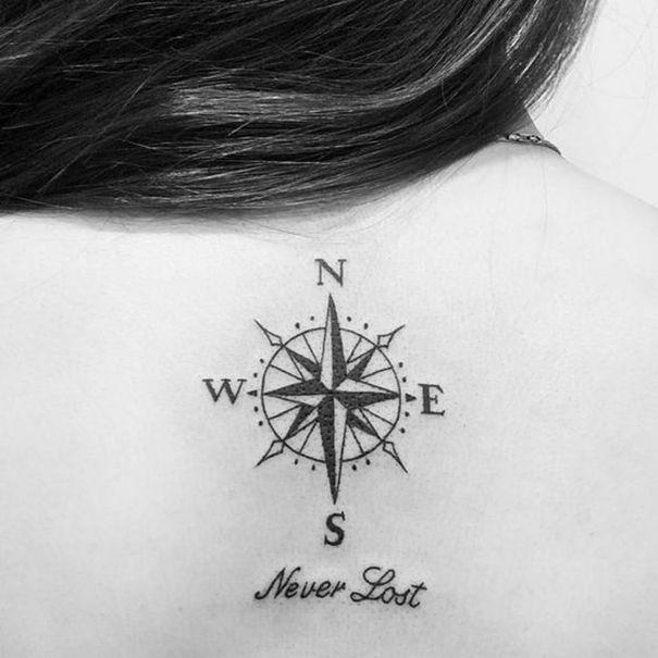 compass tattoo on back