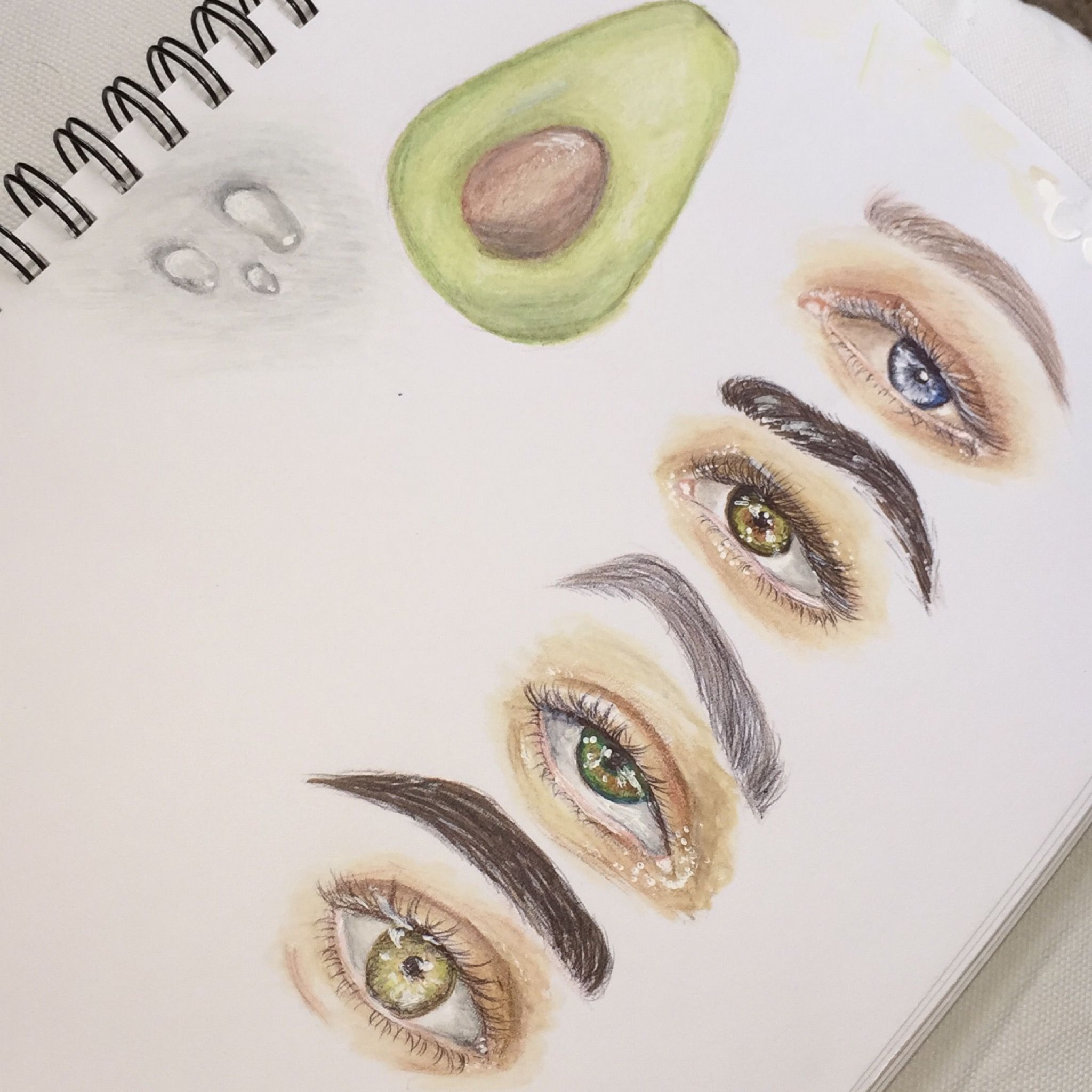 My Eye Avocado Water Drop Drawing Inspired Drawing Art Sketch Eyes Artist Paint Coloredpencils Draw Inspired Tegn Tegninger