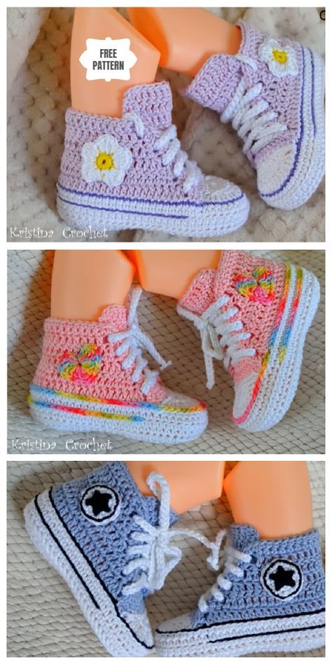 Crochet Baby Converse Booties Free Crochet Pattern + Video #crochetbabyboots